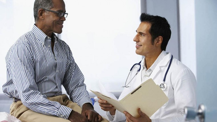 HGH doctor talking with a men